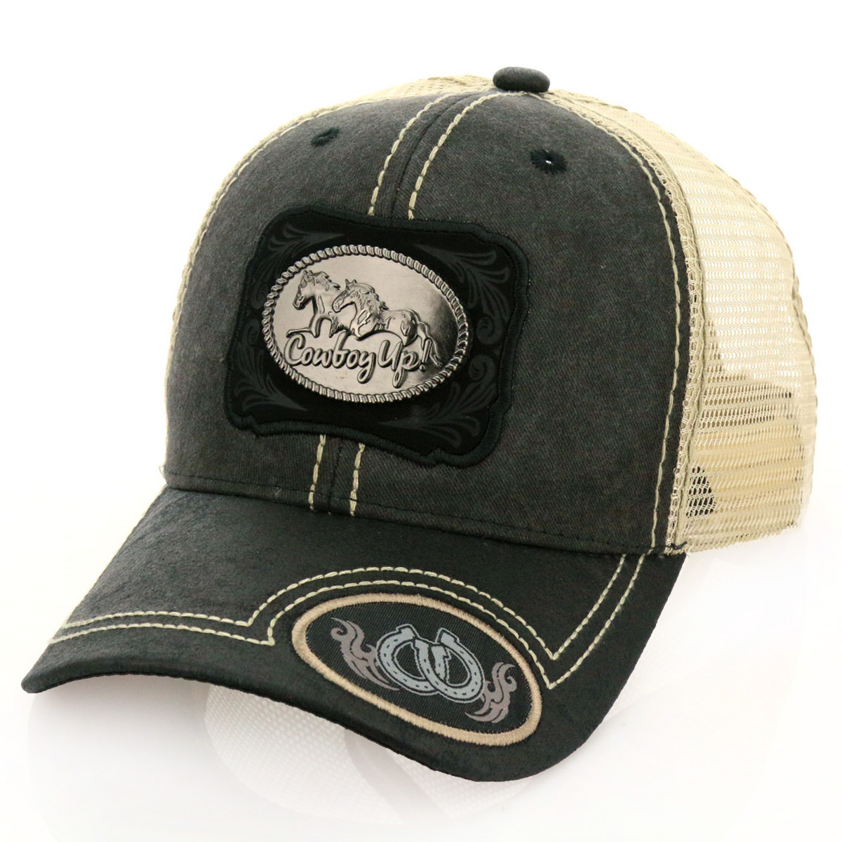 Pitbull Cowboy Up! Patch Metal Cotton Vintage Mesh Ball Cap-PB-115/GRY