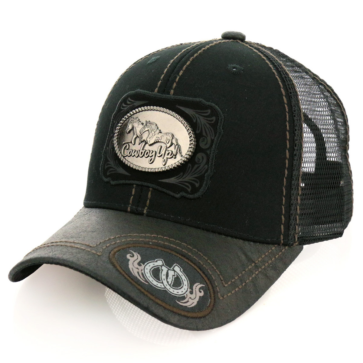 Pitbull Cowboy Up! Patch Metal Cotton Vintage Mesh Ball Cap-PB-115/BLK