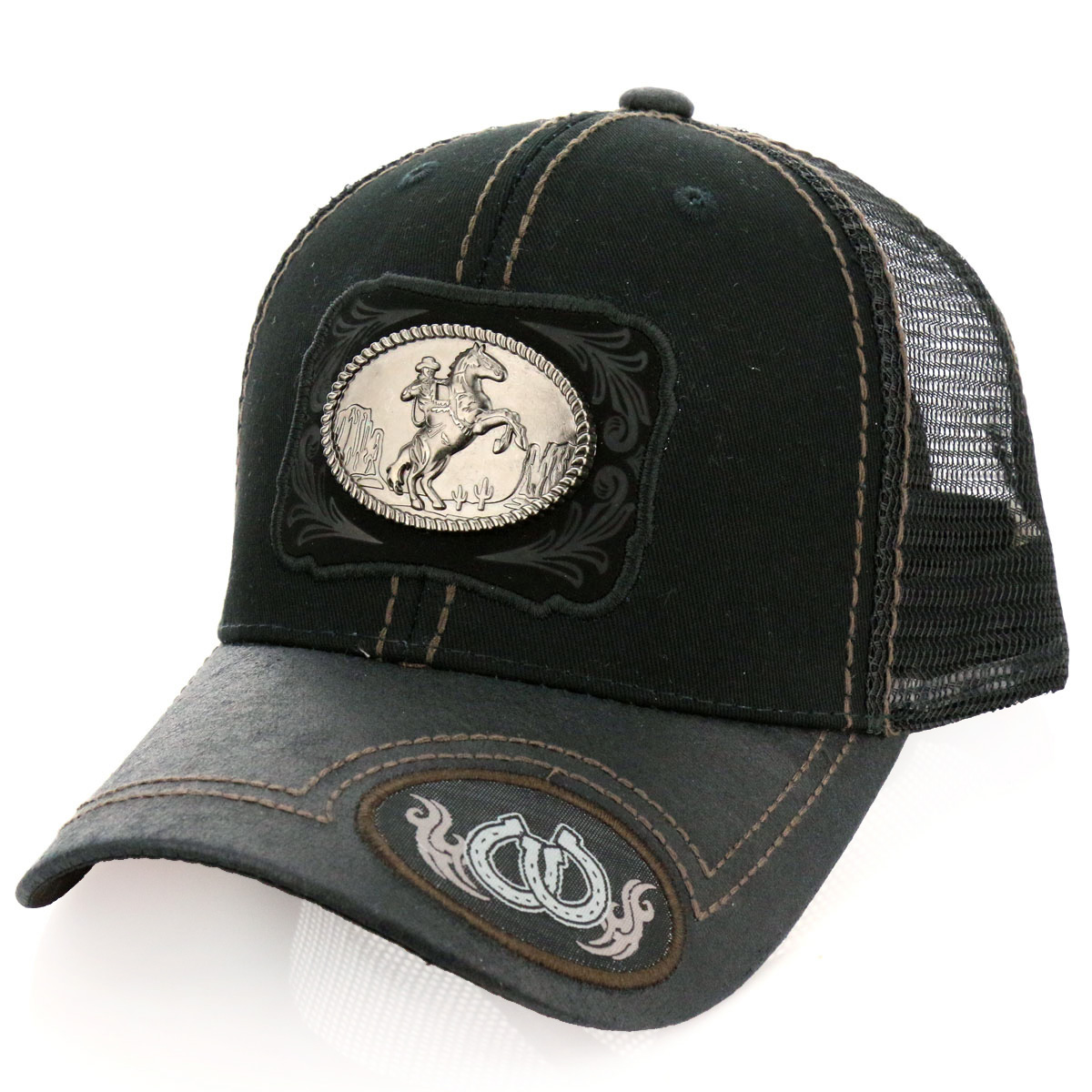 Pitbull Horse Riding Patch Metal Cotton Vintage Mesh Ball Cap-PB-113/BLK