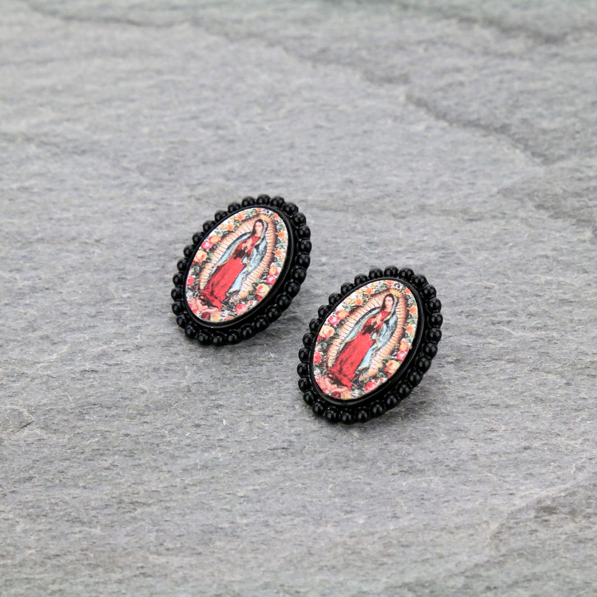 Mother of Guadalupe Post Earrings-ER0901/BLK
