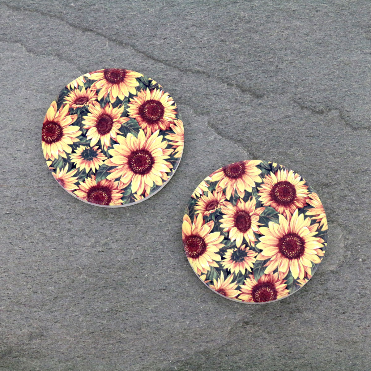 Wild Sunflower Absorbent Ceramic Car Coasters-ST0086/CLY