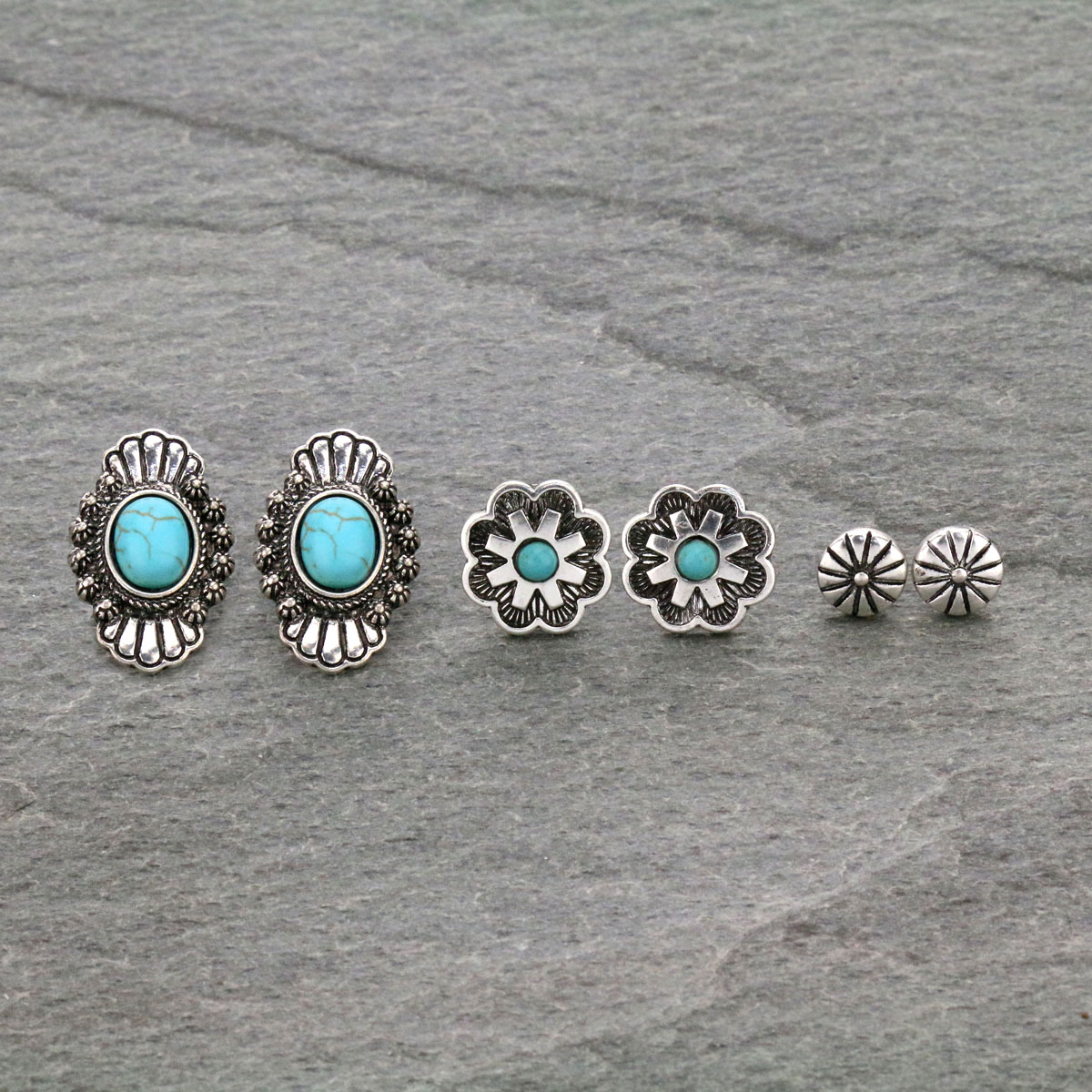 3 Pair Western Turquoise Post Earrings Set-SE1119/SBTQ