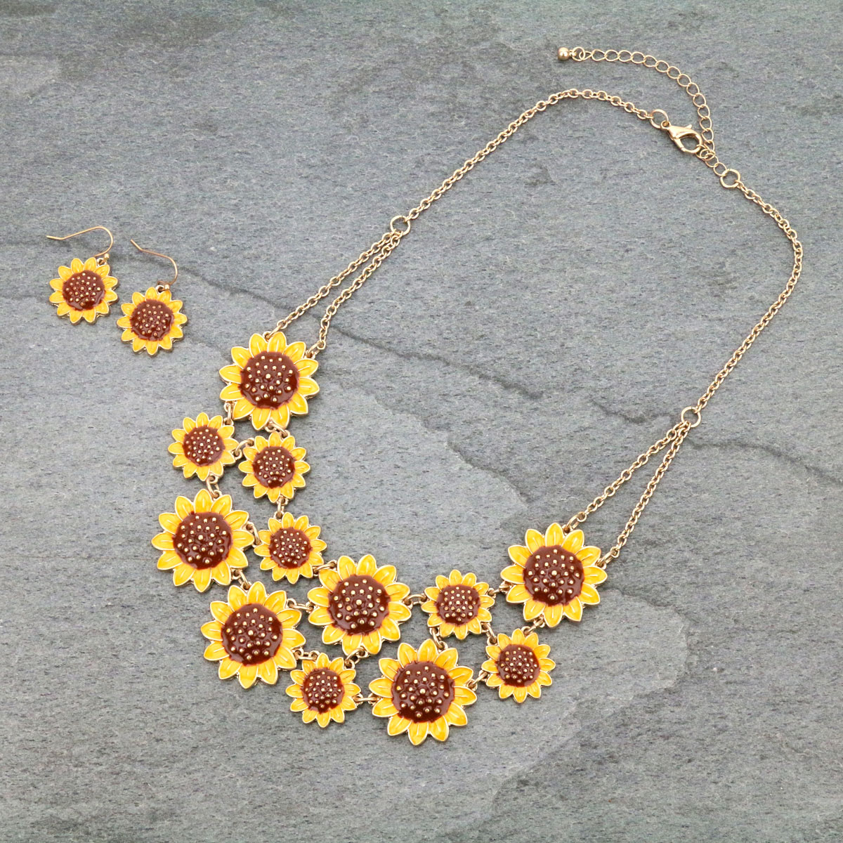 Sunflower Bib Style Necklace Set-SS1192/WGMUL