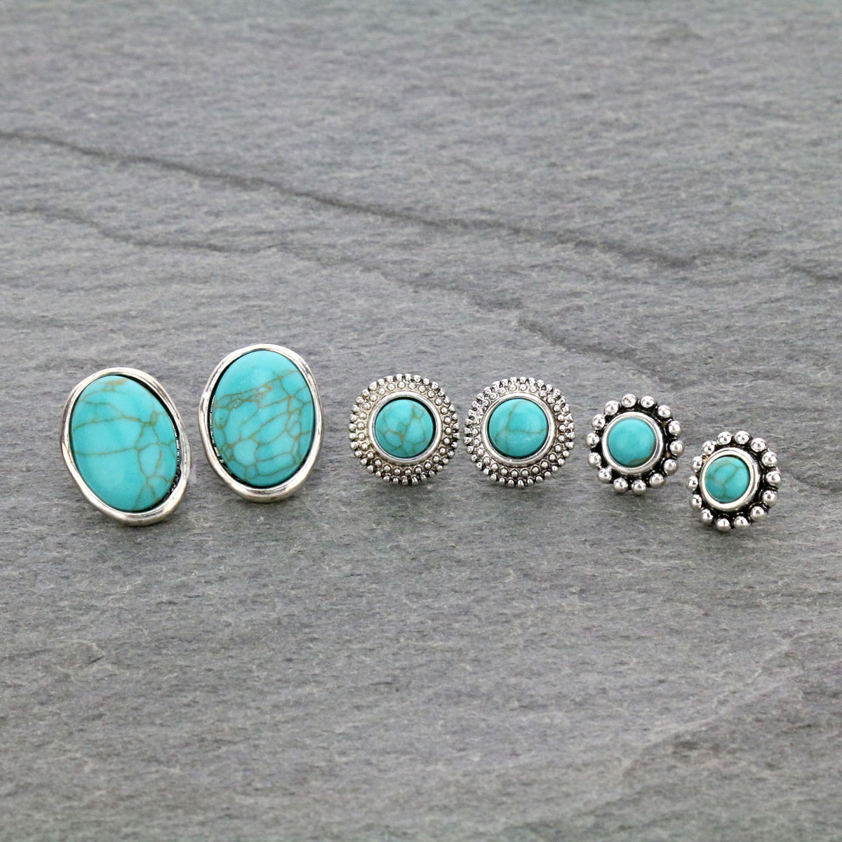 3 Pair Stone Stud Earrings Set-ER1109/TQ