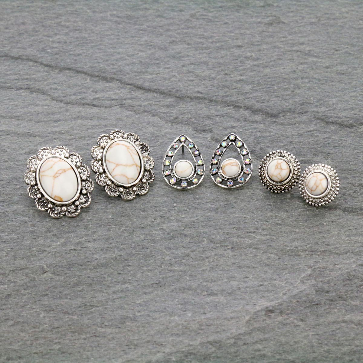3 Pair Stone Stud Earrings Set-ER1118/NAT