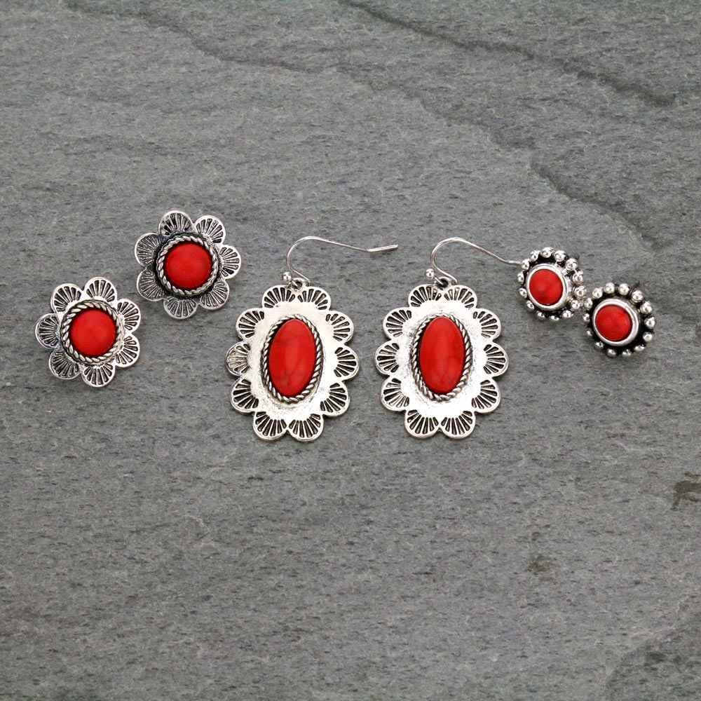 3 Pair Concho Earrings Set-ER1112/COR