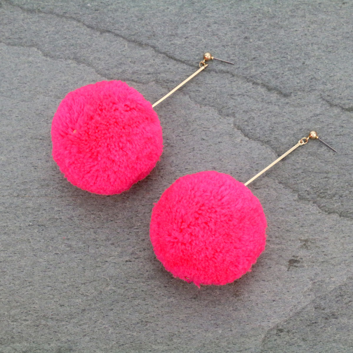 Wool Yarn Stud Earrings-TE-0160/N/PK