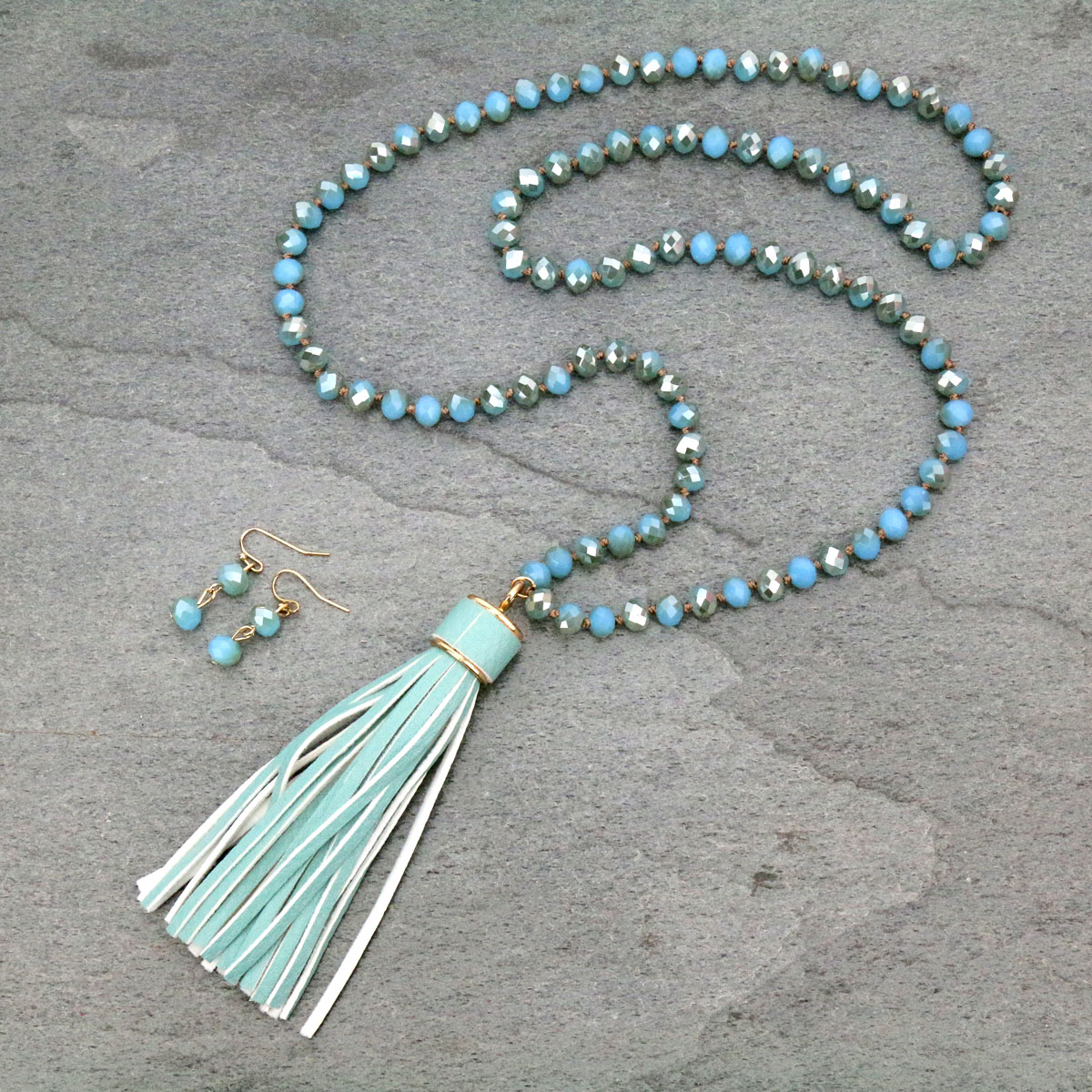 Glass Bead With Tassel Necklace Set-SS1150/TQS