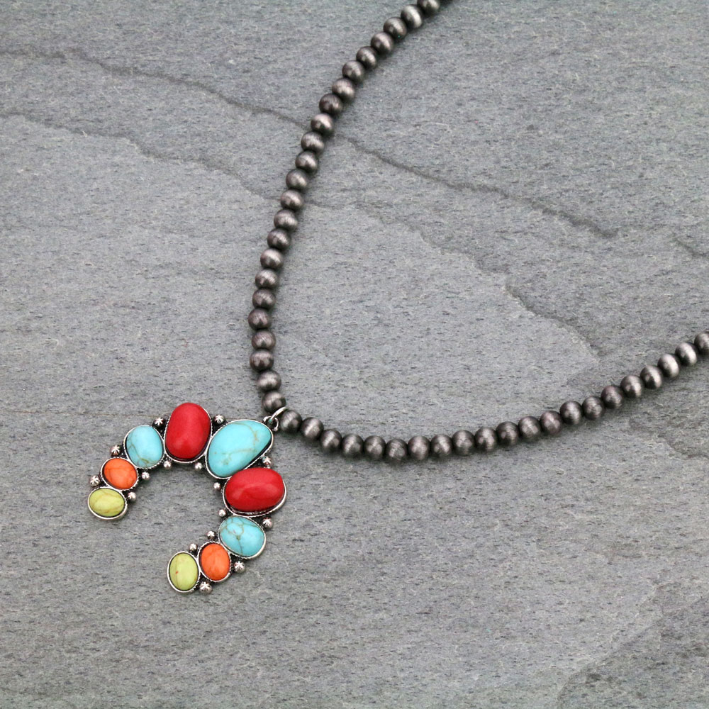 Blossom Shape Pendant with Navajo Necklace-MNE-0024/MUL