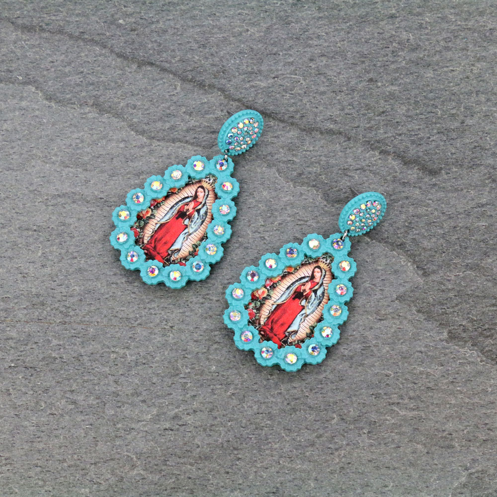 Mother Of Guadalupe Post Earrings-ER0738/TQ
