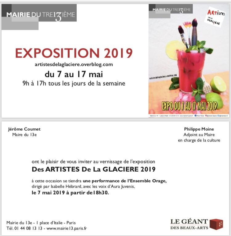 Invitation vernissage exposition collective d'art Mairie Paris 13