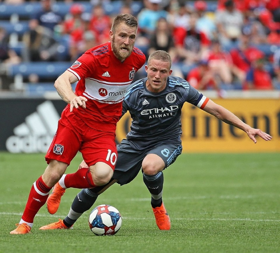 Aleksandar Katai (L while playing for Chicago Fire) apologized for his wife's posts and 'the pain they have caused' - JONATHAN DANIEL / ©AFP