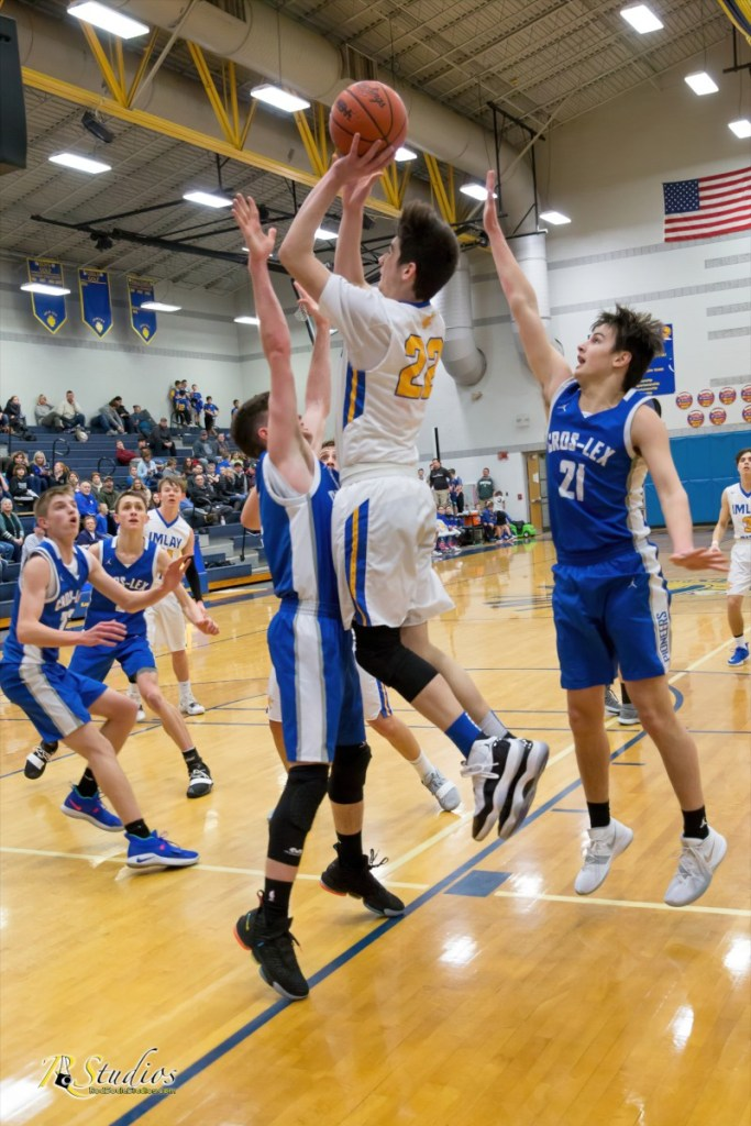 Number 23 Parker Lewis shooting a jumper against Cros-Lex last season. - Photo by Rod Soule Studios