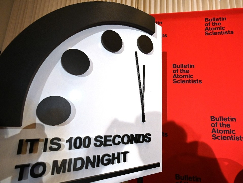 The 'Doomsday Clock' will remain at 100 seconds to midnight, the Bulletin of the Atomic Scientists said, amid the threats from Covid-19, nuclear war and climate change - EVA HAMBACH / ©AFP