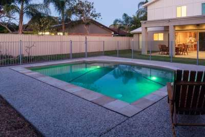New Geometric Pool Construction w Pool Lighting