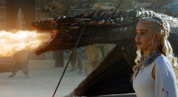 Drogon in the fighting pit of Meereen