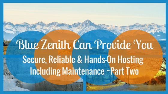 Blue Zenith Can Provide Secure, Reliable & Hands-On Hosting Including Maintenance, Part Two