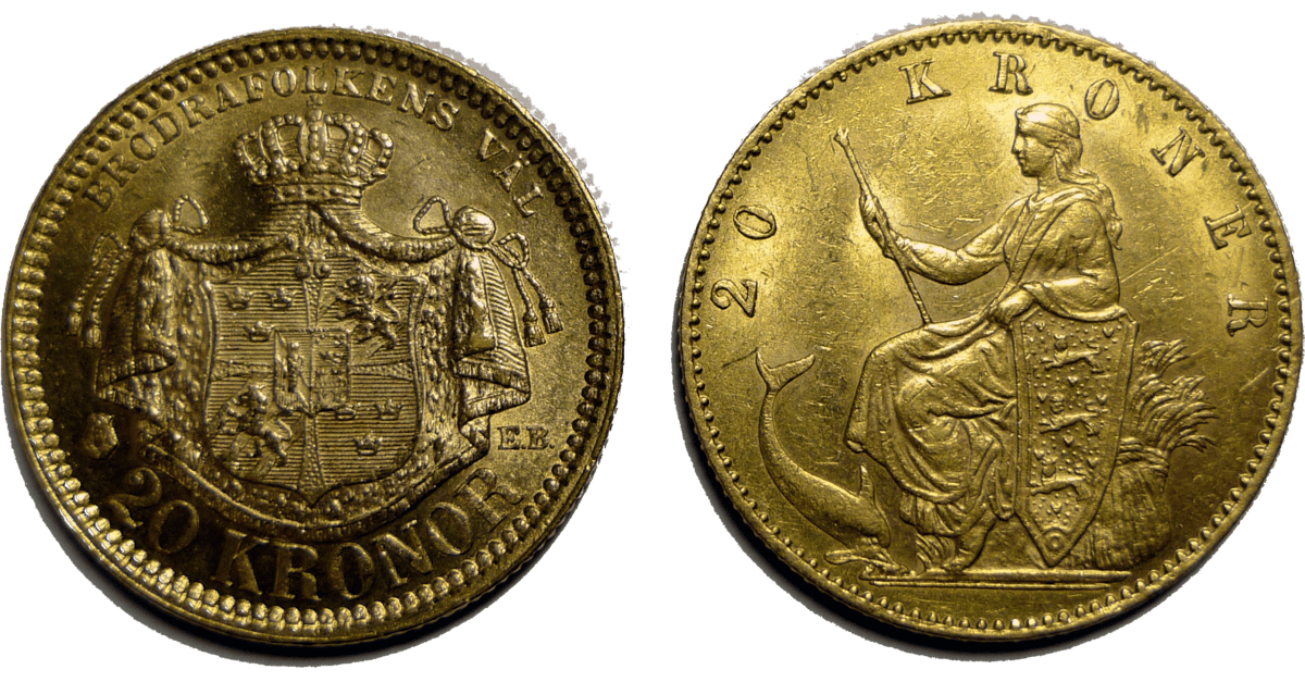 7. Gold Coins, Swedish-Danish.. 20kr. Anonimskipng