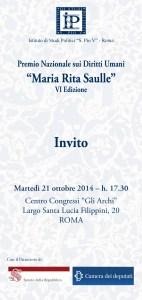 Invito Premio Diritti Umani 2014- Maria Rita Saulle