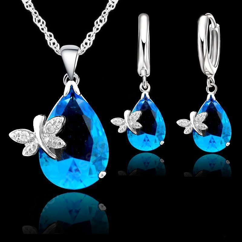 Jemmin Fine Water Drop Austrian Crystal Bridal Wedding Jewelry Sets For Women  Sterling Silver Necklaces