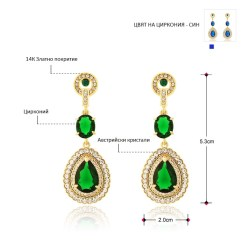 Neoglory Austria Rhinestone Zircon Dangle Earrings Vintage Style Light Yellow Gold Color Water Drop Design Lady