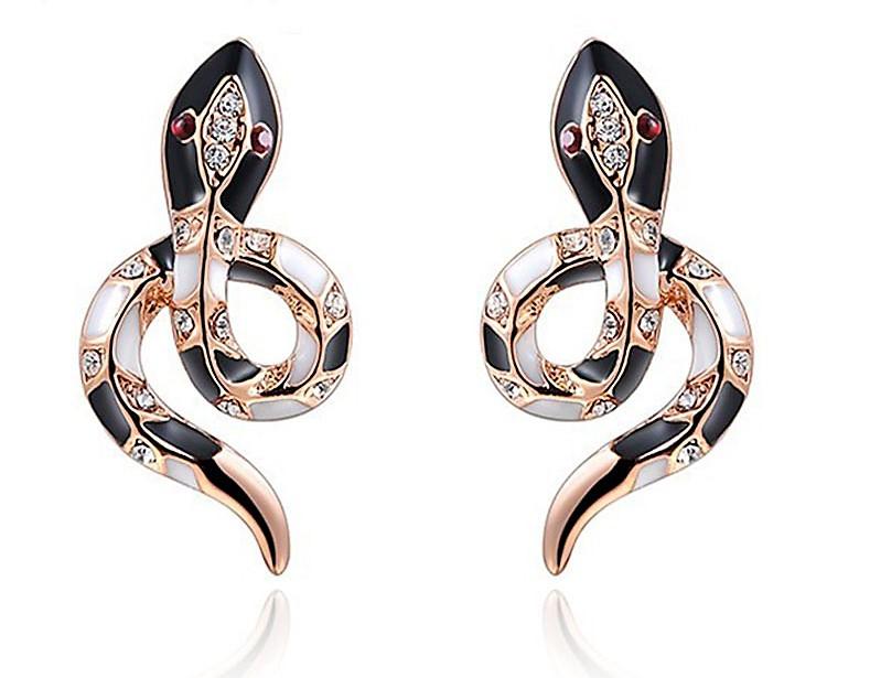ROXI Women Earrings Cute Snake Rose Gold Wedding Stud Earrings for Women pendientes mujer moda