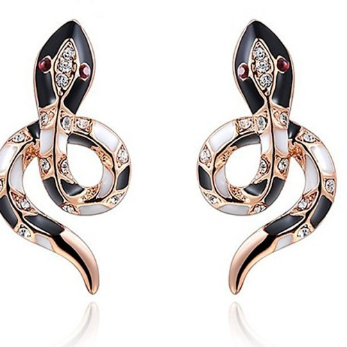 ROXI Women Earrings Cute Snake Rose Gold Wedding Stud Earrings for Women pendientes mujer moda