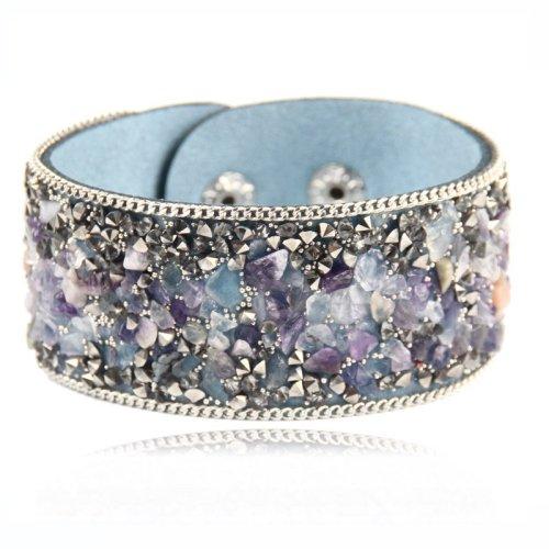 Hot Ssle Fashion women charm wrap Bracelets Slake Leather Bracelets With Crystals Stone Couple Jewelry blue