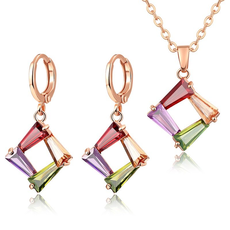 CARSINEL Rose Gold color Wedding Engagement Jewelry Fashion Colorful Zircon Necklace Earrings for Women Copper Jewelry