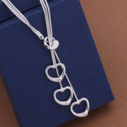 Fashion Elegant Ladies Necklace  Hollow Heart Pendant Long Necklace Mulit Chain Silver Plated Jewelry Loving