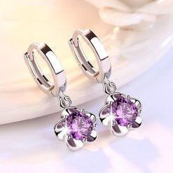 JYouHF Flower Drop Earrings Fashion  Sterling Silver White Purple CZ Zircon Crystal Earrings for Women