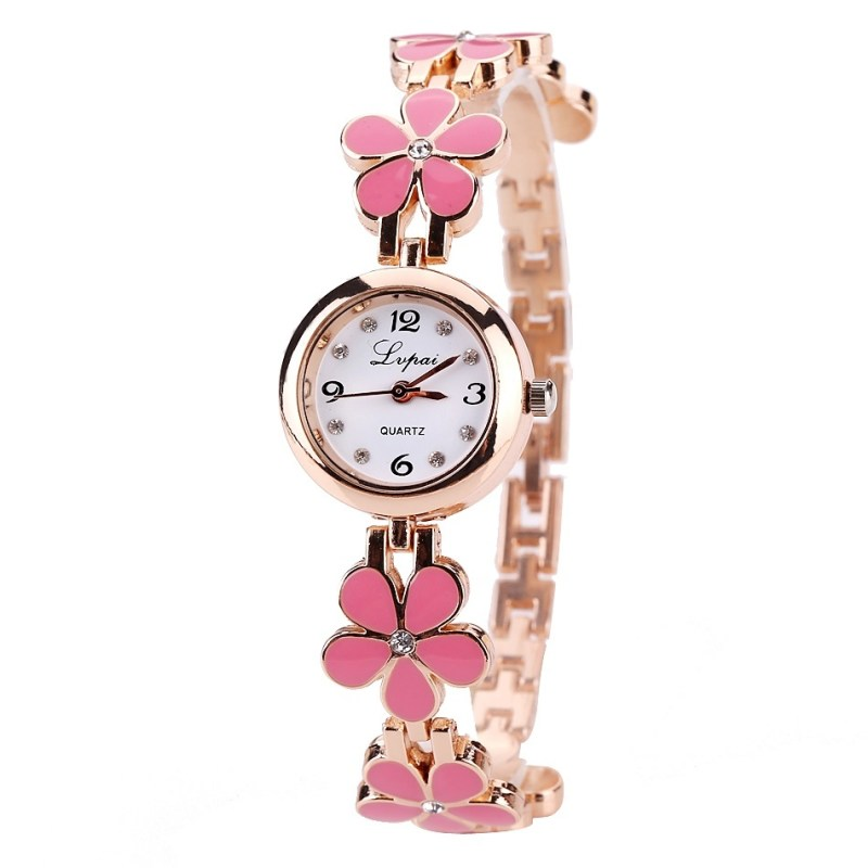 Lvpai Brand Luxury Crystal Gold Watches Women Fashion Bracelet Quartz Wristwatch Rhinestone Ladies Fashion Watch Gift Pink