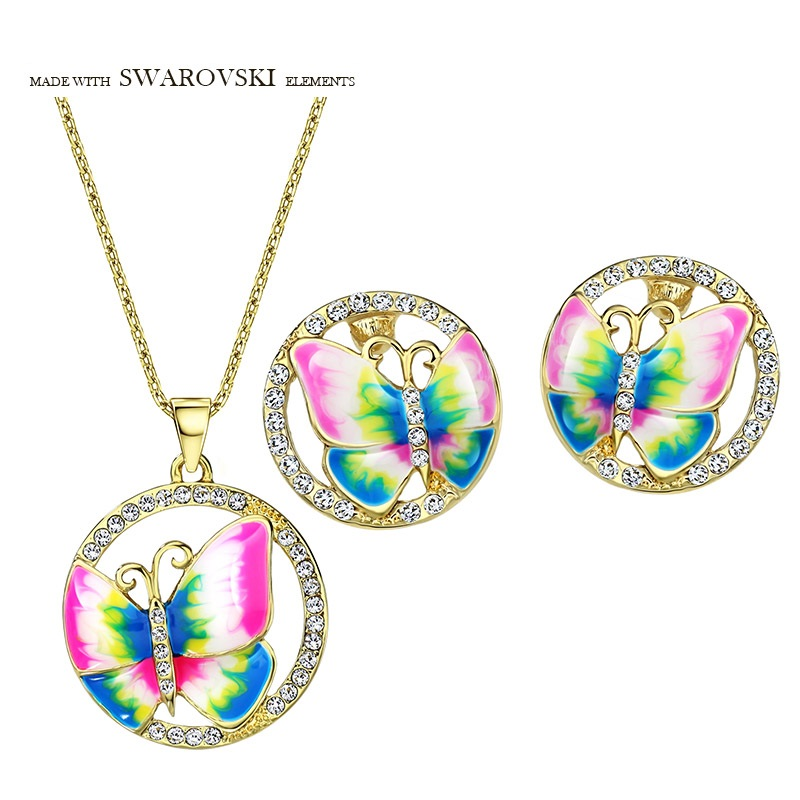 Neoglory Austria Rhinestone Enamel Jewelry Set Exquisite Colorful Butterfly Style Party Trendy Necklaces Earrings Lady Gift