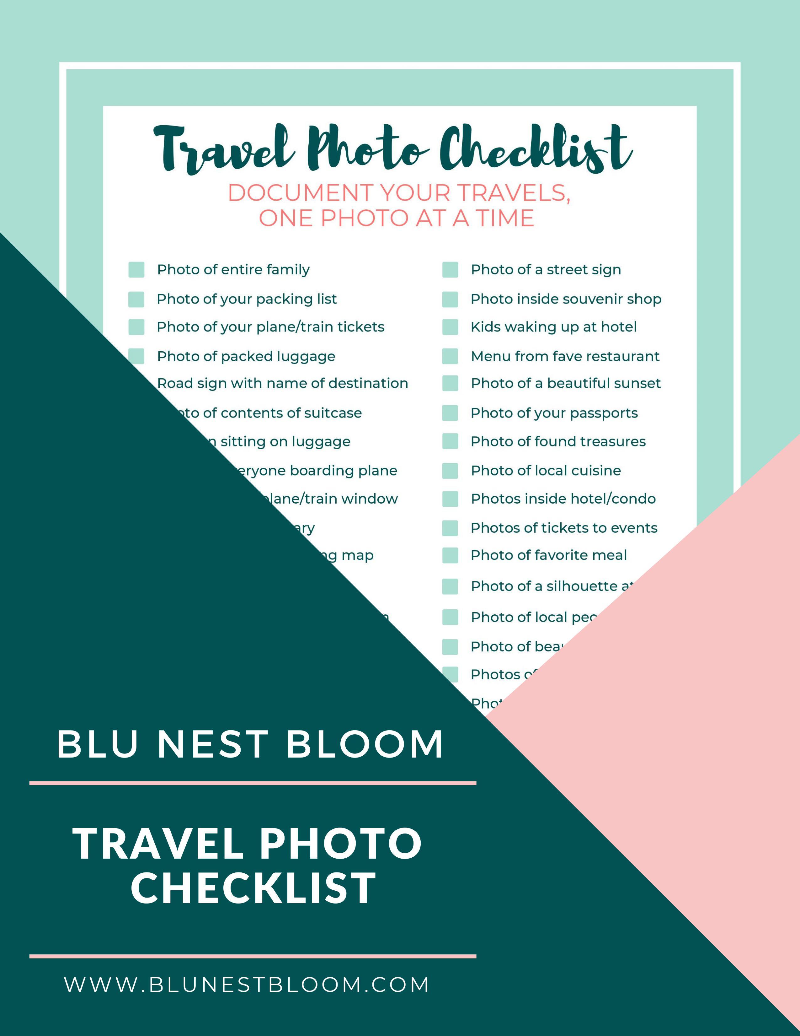 Travel Photo Checklist - Pinterest