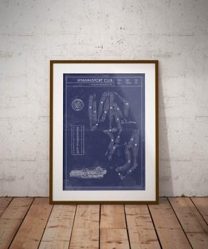 Vintage Hyannisport Club golf blueprint poster