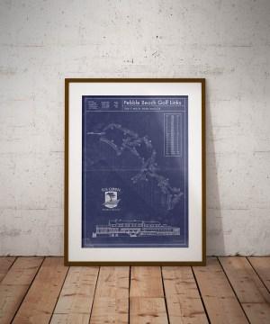 Vintage Pebble Beach golf blueprint poster