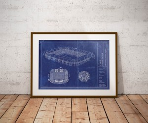 King Power stadium vintage blueprint poster
