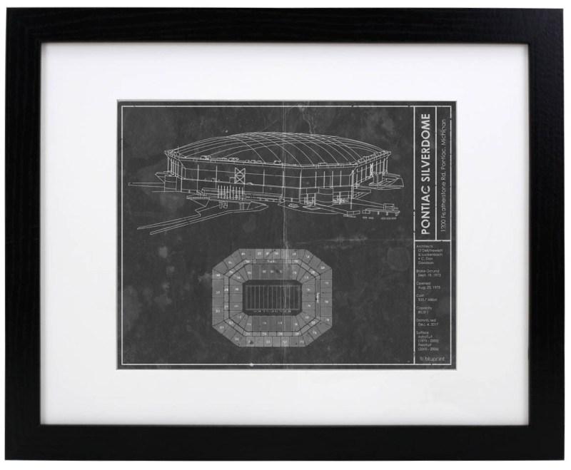 Pontiac Silverdome vintage blueprint
