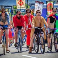 Bike Lineup - A very Reservoir Dogs looking bike lineup in the 2013 LGBT Price March in Salt Lake City, Utah. June 2, 2013 | Blurbomat.com