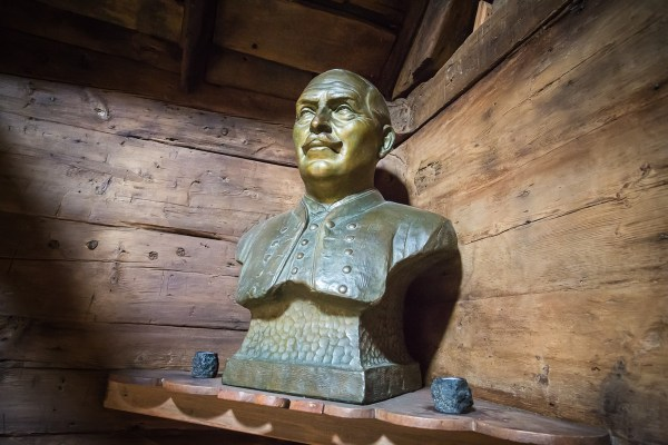 Bust inside the wooden room of the roykstova, Kirkjubøur, Faroe Islands.