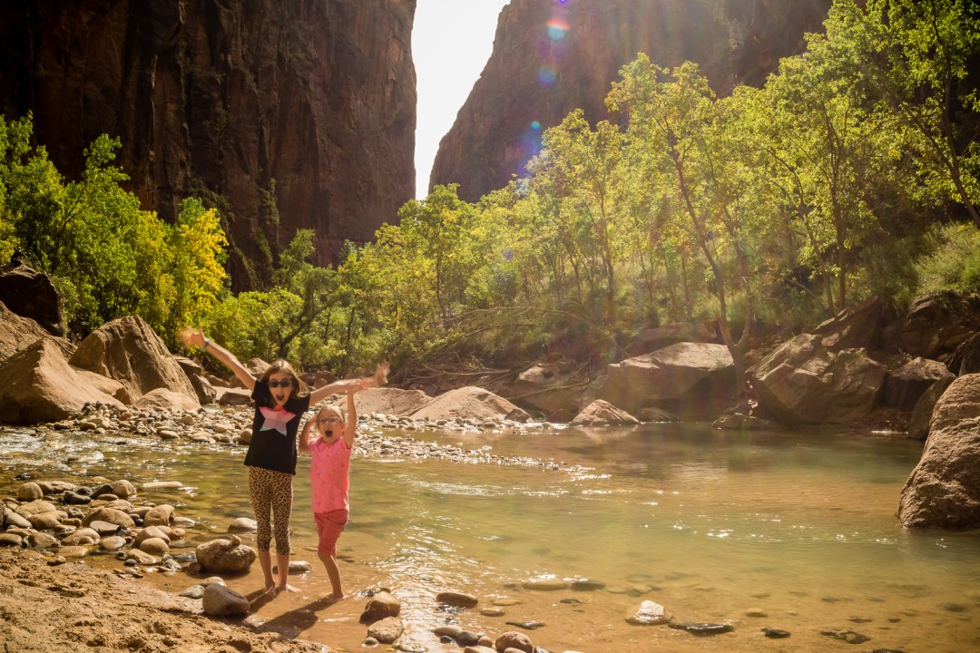 Leta and Marlo along the Virgin River in Zion National Park
