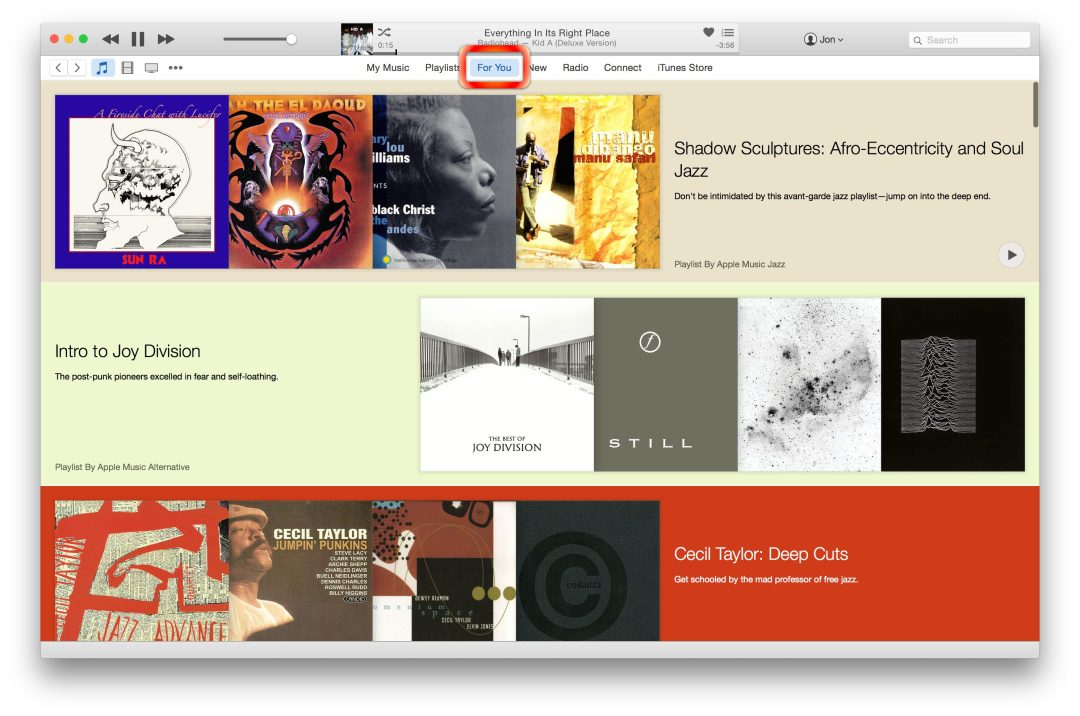 Apple Music For You Tab