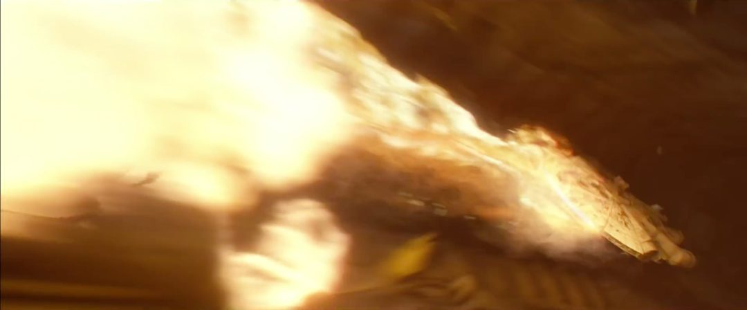 Millenium Falcon in a fireball   Blurbomat.com