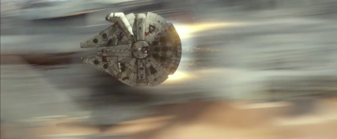 Milllenium Falcon turning up the thrusters while being chased by TIE fighters   Blurbomat.com