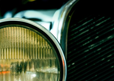 Headlight on a vintage car
