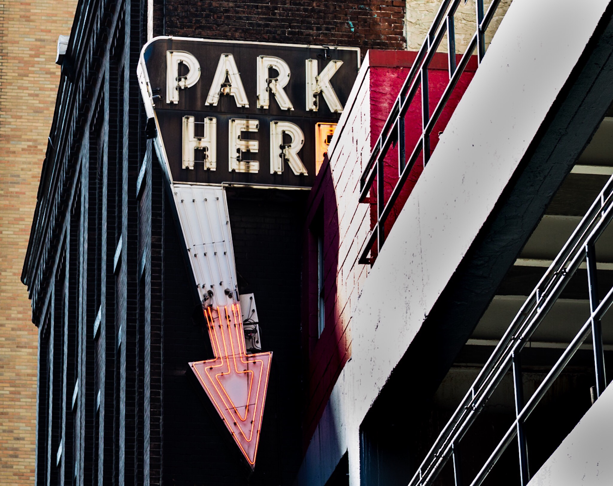 Philadelphia parking garage neon sign