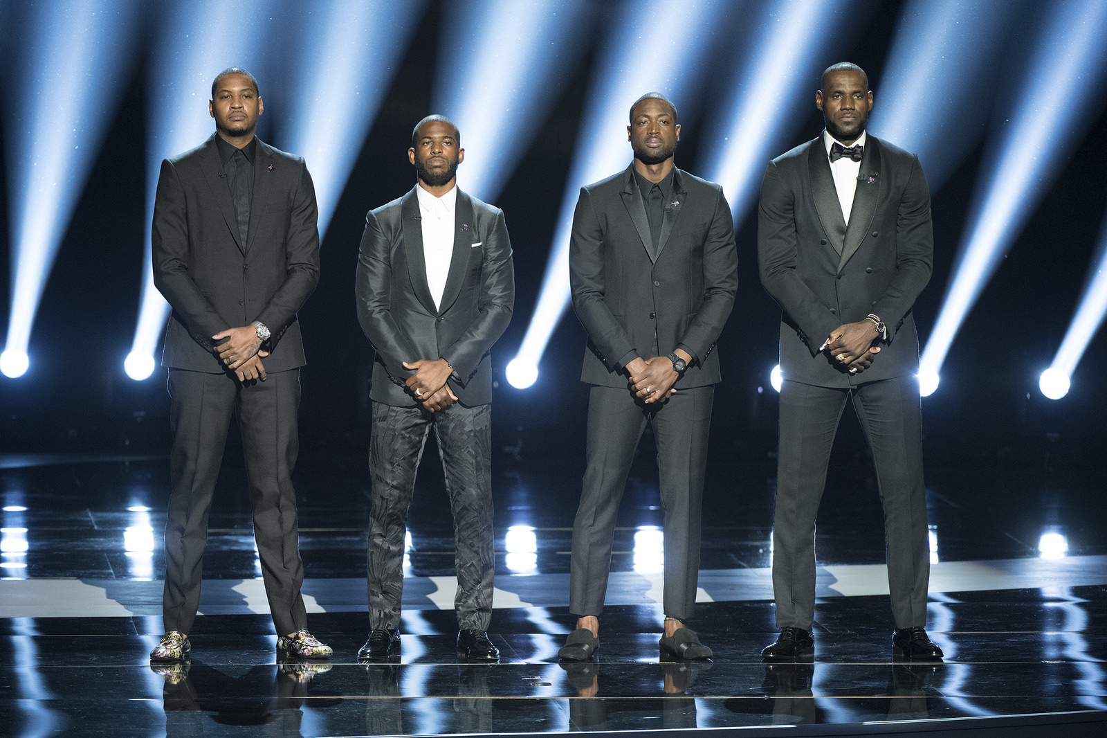 "Carmelo Anthony, Chris Paul, Dwayne Wade and Lebron James at ""The 2016 ESPYS Presented by Capital One"" on July 13. (C) ABC/Image Group LA. License under CC BY 2.0."