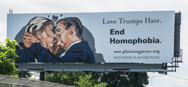 A Giant Billboard Of Trump And Cruz Kissing In Cleveland