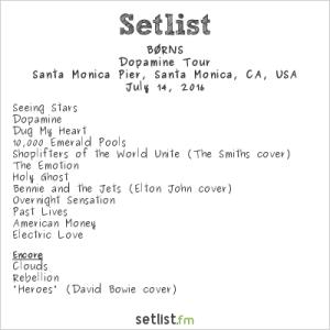BØRNS at Santa Monica Pier's Twilight Concert 7/14/16. Setlist (Borns)