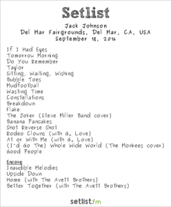 Jack Johnson at KAABOO 2016, September 18th. Setlist.